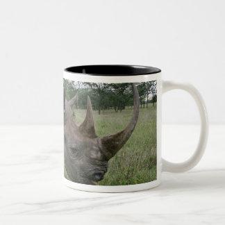 Black Rhinoceros, Diceros bicornis, Kenya 2 Two-Tone Coffee Mug