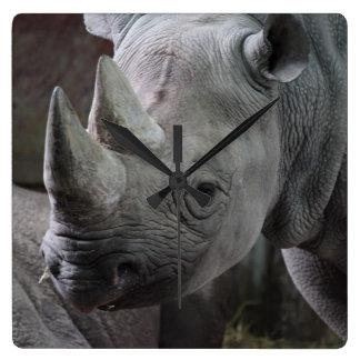 Black Rhinoceros Photo Square Wallclock