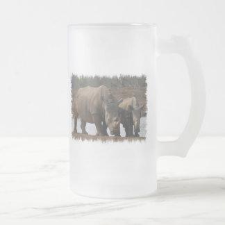 Black Rhinos Frosted Beer Mug