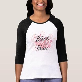 Black Rhinos with flowers background Shirt