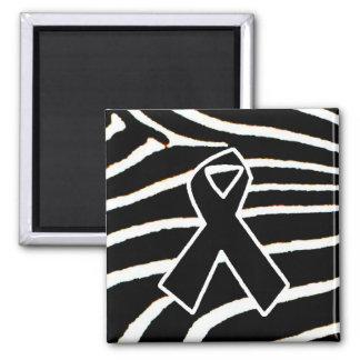 Black Ribbon 2 Inch Square Magnet