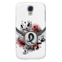 Black Ribbon And Wings Melanoma Galaxy S4 Case