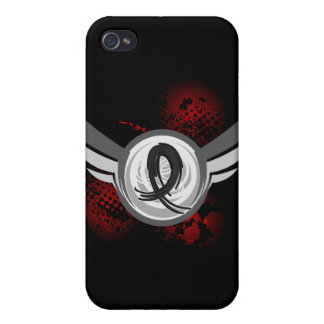Black Ribbon And Wings Skin Cancer Cover For iPhone 4