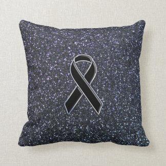Black Ribbon Awareness Accent Decor Throw Pillow