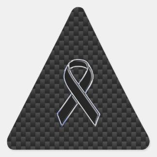 Black Ribbon Awareness Carbon Fiber Decor Triangle Sticker