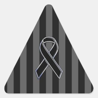 Black Ribbon Awareness Stripes Triangle Sticker