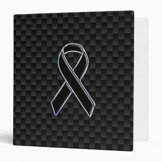 Black Ribbon Awareness Stylish Carbon Fiber Binder