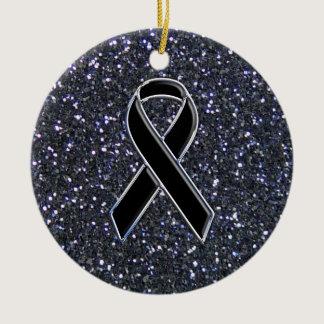 Black Ribbon Awareness Symbol Ceramic Ornament