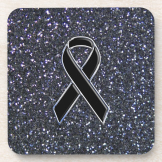 Black Ribbon Awareness Symbol Drink Coaster