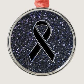 Black Ribbon Awareness Symbol Metal Ornament