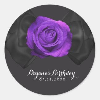 Black Ribbon Bow & Purple Rose ANY COLOR Elegant Classic Round Sticker
