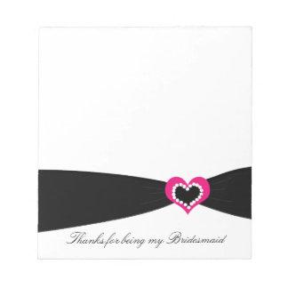 Black Ribbon Bridesmaid Thank You Notepad