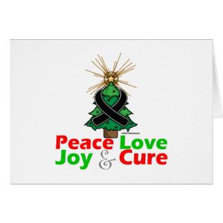 Black Ribbon Christmas Peace Love, Joy & Cure Greeting Card