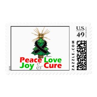 Black Ribbon Christmas Peace Love, Joy & Cure Postage