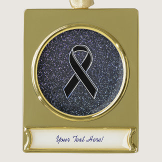 Black Ribbon Decor Gold Plated Banner Ornament