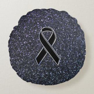 Black Ribbon Decor Round Pillow