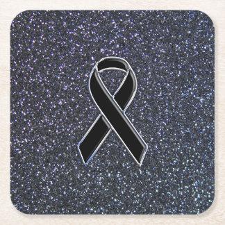 Black Ribbon Decor Square Paper Coaster