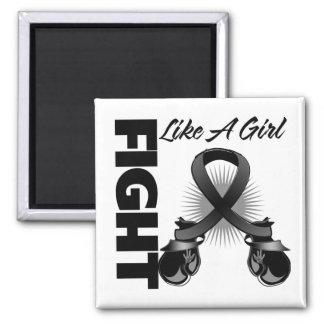 Black Ribbon Fight Like A Girl 2 Inch Square Magnet