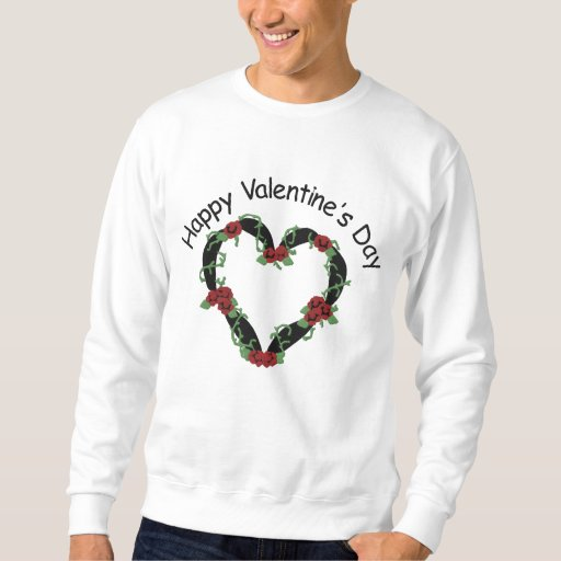 Black Ribbon Heart w/Roses Embroidery Pattern Embroidered Sweatshirt
