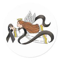 """Black Ribbon"" Melanoma Awareness Angel Classic Round Sticker"