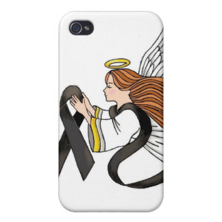 """Black Ribbon"" Melanoma Awareness Angel iPhone 4/4S Cover"