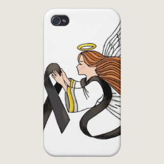 """Black Ribbon"" Melanoma Awareness Angel iPhone 4 Cases"