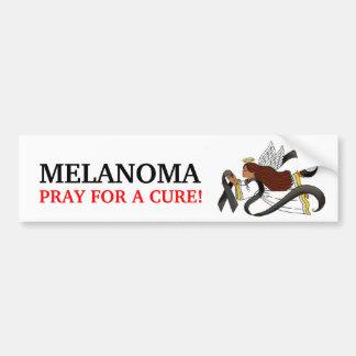 """Black Ribbon"" Melanoma Awareness Ethnic Angel Bumper Stickers"