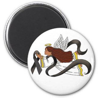 """Black Ribbon"" Melanoma Awareness Ethnic Angel Magnet"