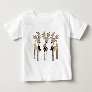 Black Ribbon Reindeer Baby T-Shirt