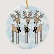 Black Ribbon Reindeer Ceramic Ornament