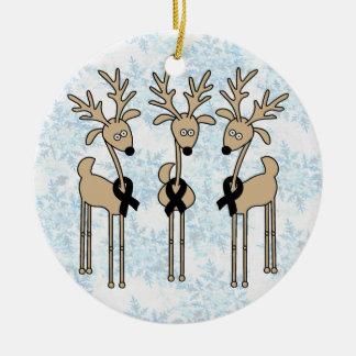 Black Ribbon Reindeer Ceramic Ornament