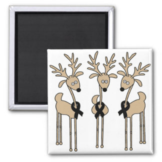 Black Ribbon Reindeer Magnet