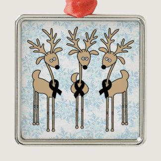 Black Ribbon Reindeer Metal Ornament