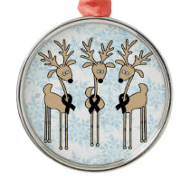 Black Ribbon Reindeer Metal Ornament