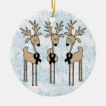 Black Ribbon Reindeer Double-Sided Ceramic Round Christmas Ornament