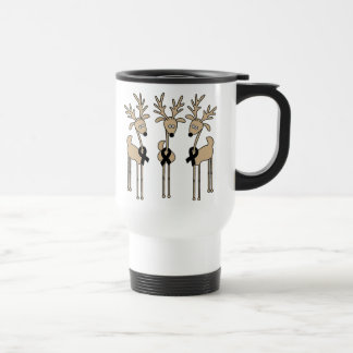 Black Ribbon Reindeer Travel Mug