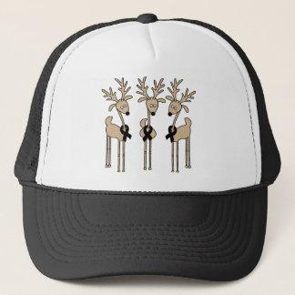 Black Ribbon Reindeer Trucker Hat