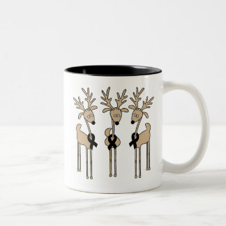 Black Ribbon Reindeer Two-Tone Coffee Mug