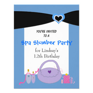 Black Ribbon Spa Birthday Party Invitation