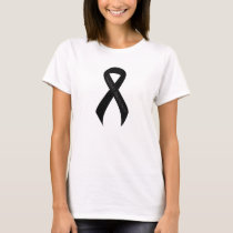 Black Ribbon Support Awareness T-Shirt