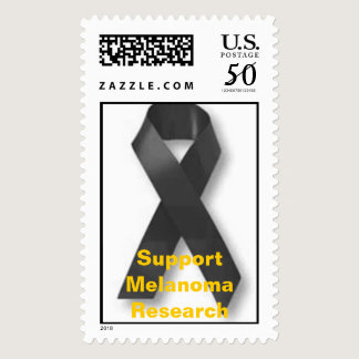 black_ribbon, Support Melanoma Research Postage