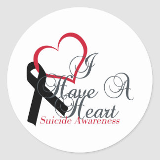 Black Ribbon Support Suicide Awareness Classic Round Sticker