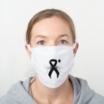 Black Ribbon with Butterfly White Cotton Face Mask