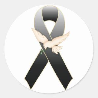 Black Ribbon with Dove Awareness Sticker