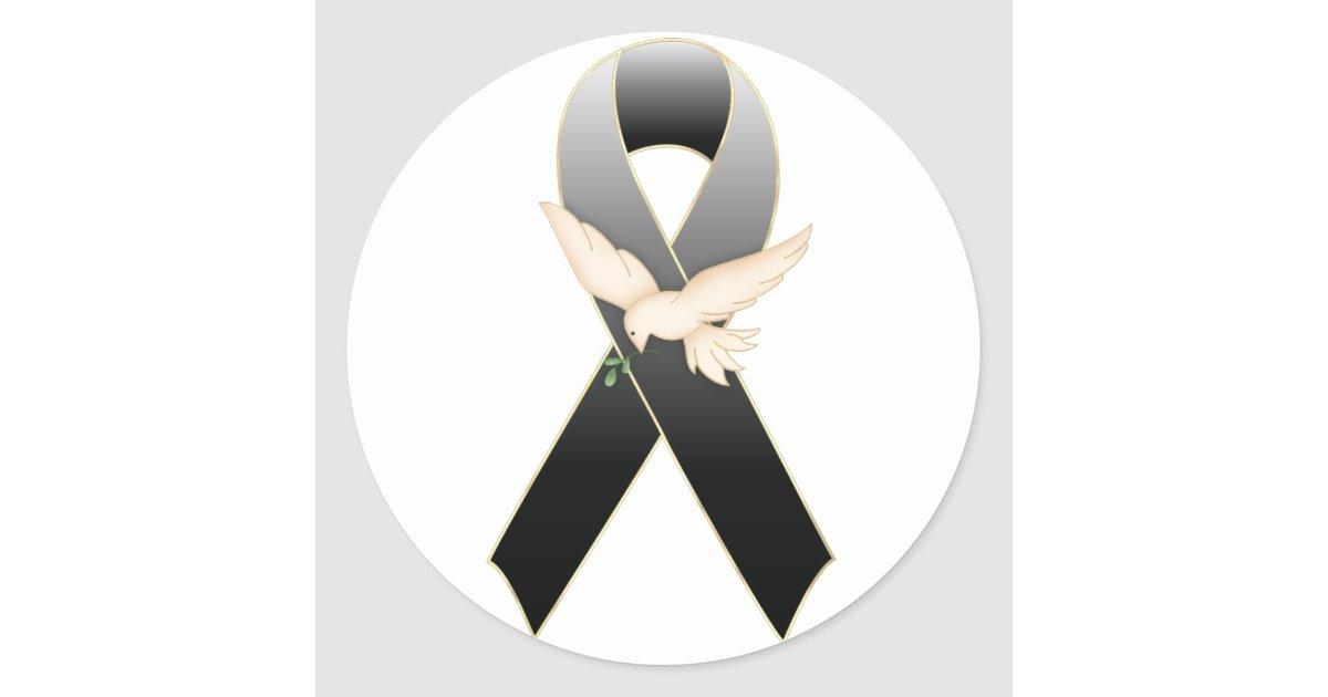 Black Ribbon With Dove Awareness Sticker