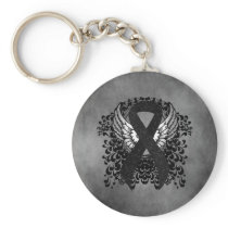 Black Ribbon with Wings Keychain