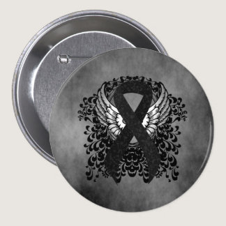 Black Ribbon with Wings Pinback Button