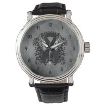 Black Ribbon with Wings Watch