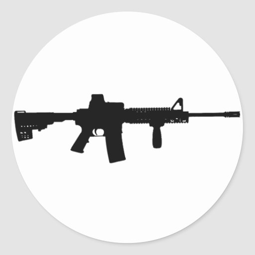 Black Rifle AR-15 from Phil's Art Online Round Stickers