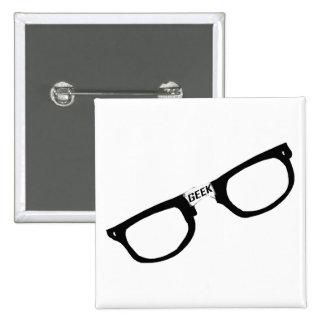 Black Rimmed Geek Glasses Button